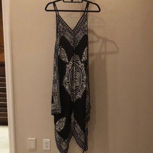 Black and white handkerchief dress. 100% silk